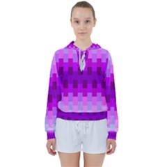 Geometric Cubes Pink Purple Blue Women s Tie Up Sweat