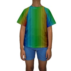 Spectrum Colours Colors Rainbow Kids  Short Sleeve Swimwear
