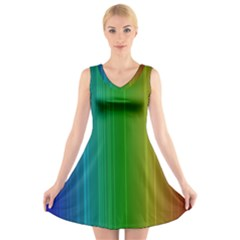 Spectrum Colours Colors Rainbow V Neck Sleeveless Skater Dress