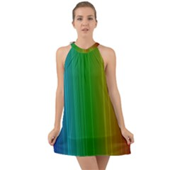 Spectrum Colours Colors Rainbow Halter Tie Back Chiffon Dress