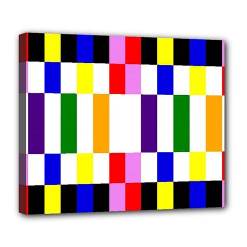 Rainbow Color Blocks Red Orange Deluxe Canvas 24  X 20