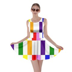 Rainbow Color Blocks Red Orange Skater Dress by Nexatart