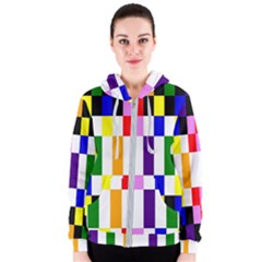 Rainbow Color Blocks Red Orange Women s Zipper Hoodie