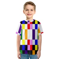 Rainbow Color Blocks Red Orange Kids  Sport Mesh Tee
