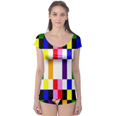 Rainbow Color Blocks Red Orange Boyleg Leotard  by Nexatart