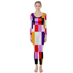 Rainbow Color Blocks Red Orange Long Sleeve Catsuit