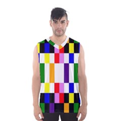 Rainbow Color Blocks Red Orange Men s Basketball Tank Top