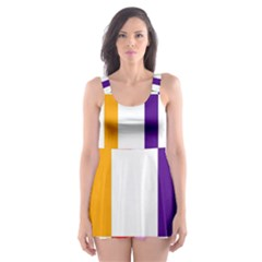Rainbow Color Blocks Red Orange Skater Dress Swimsuit by Nexatart