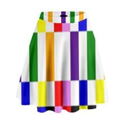 Rainbow Color Blocks Red Orange High Waist Skirt by Nexatart