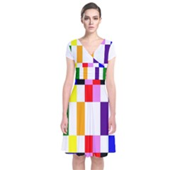 Rainbow Color Blocks Red Orange Short Sleeve Front Wrap Dress
