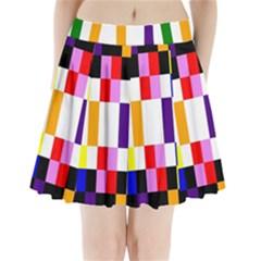 Rainbow Color Blocks Red Orange Pleated Mini Skirt