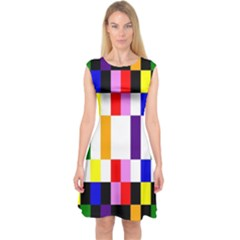 Rainbow Color Blocks Red Orange Capsleeve Midi Dress