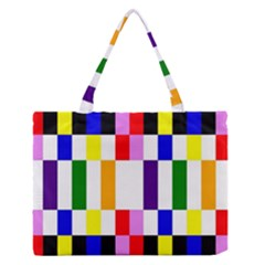 Rainbow Color Blocks Red Orange Zipper Medium Tote Bag