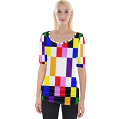 Rainbow Color Blocks Red Orange Wide Neckline Tee