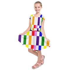 Rainbow Color Blocks Red Orange Kids  Short Sleeve Dress