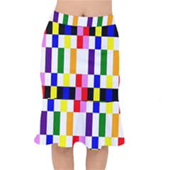 Rainbow Color Blocks Red Orange Mermaid Skirt by Nexatart