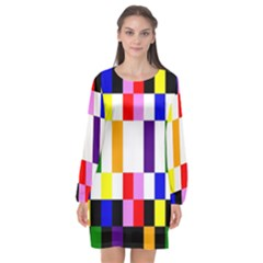 Rainbow Color Blocks Red Orange Long Sleeve Chiffon Shift Dress  by Nexatart