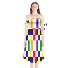 Rainbow Color Blocks Red Orange Shoulder Tie Bardot Midi Dress
