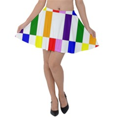Rainbow Color Blocks Red Orange Velvet Skater Skirt by Nexatart