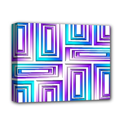Geometric 3d Metallic Aqua Purple Deluxe Canvas 14  X 11