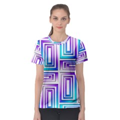 Geometric 3d Metallic Aqua Purple Women s Sport Mesh Tee
