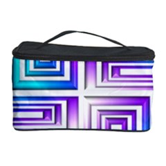 Geometric 3d Metallic Aqua Purple Cosmetic Storage Case