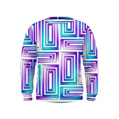 Geometric 3d Metallic Aqua Purple Kids  Sweatshirt