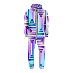Geometric 3d Metallic Aqua Purple Hooded Jumpsuit (kids)