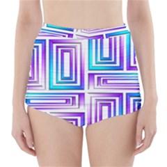 Geometric 3d Metallic Aqua Purple High Waisted Bikini Bottoms