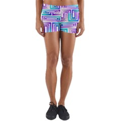Geometric 3d Metallic Aqua Purple Yoga Shorts