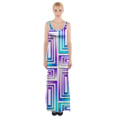 Geometric 3d Metallic Aqua Purple Maxi Thigh Split Dress