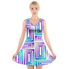 Geometric 3d Metallic Aqua Purple V Neck Sleeveless Skater Dress