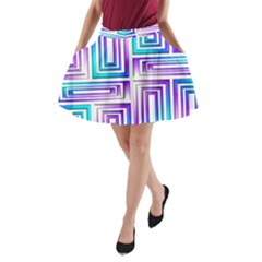 Geometric 3d Metallic Aqua Purple A Line Pocket Skirt
