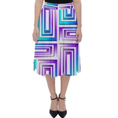Geometric 3d Metallic Aqua Purple Folding Skater Skirt