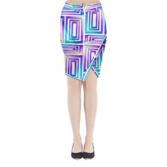 Geometric 3d Metallic Aqua Purple Midi Wrap Pencil Skirt