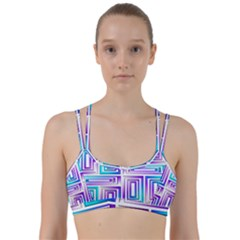 Geometric 3d Metallic Aqua Purple Line Them Up Sports Bra