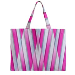 Geometric 3d Design Pattern Pink Zipper Mini Tote Bag