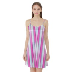 Geometric 3d Design Pattern Pink Satin Night Slip