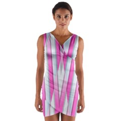 Geometric 3d Design Pattern Pink Wrap Front Bodycon Dress