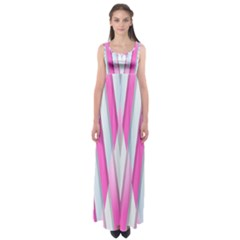 Geometric 3d Design Pattern Pink Empire Waist Maxi Dress
