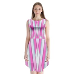 Geometric 3d Design Pattern Pink Sleeveless Chiffon Dress