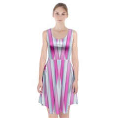 Geometric 3d Design Pattern Pink Racerback Midi Dress