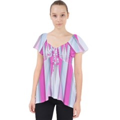 Geometric 3d Design Pattern Pink Lace Front Dolly Top