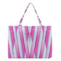 Geometric 3d Design Pattern Pink Medium Tote Bag