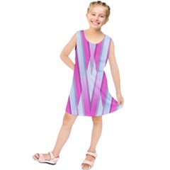 Geometric 3d Design Pattern Pink Kids  Tunic Dress