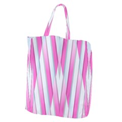 Geometric 3d Design Pattern Pink Giant Grocery Zipper Tote