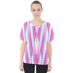 Geometric 3d Design Pattern Pink V Neck Dolman Drape Top