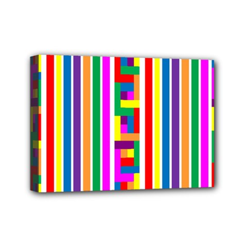 Rainbow Geometric Design Spectrum Mini Canvas 7  X 5