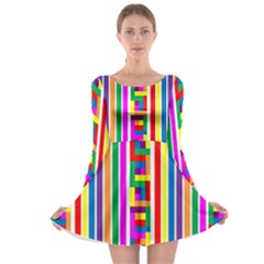 Rainbow Geometric Design Spectrum Long Sleeve Skater Dress
