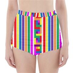 Rainbow Geometric Design Spectrum High Waisted Bikini Bottoms